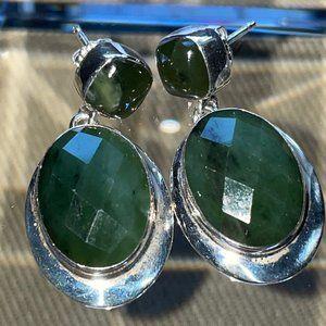 Jay King SS Dark Green NEPRITE JADE Earrings